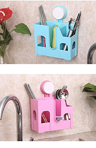 Woogor Wall Mounted Strong Suction Cup Chopsticks Spoon Holders Kitchen Thick Drain Chopsticks Cage Tableware Rack Storage Box Shelves Home and Kitchen Accessories (Assorted Color)