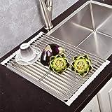 Top Home Solutions, Scolapiatti da mettere sopra il lavello, arrotolabile, in acciaio inox White