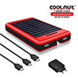 COOLNUT Solar Power Bank 13000mAh Complete Kit ,Portable Charger with Solar Panel [Adapter & 3 Usb Cable ]