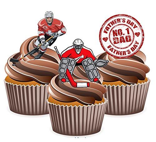 Père de Jour Hockey sur glace pour décoration de gâteau comestible col montant Cup Cake (Lot de 12)