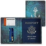 kwmobile custodia per passaporto in simil pelle - porta passaporto pelle sintetica - tasche carte di credito tasca grande extra Design Ancora cartina geografica bianco blu - porta documenti