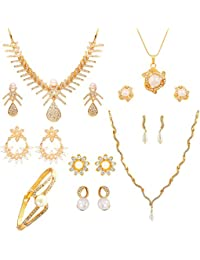 Touchstone Indian Traditional White Crystals Faux Pearls Alloy Metal Jewelry Combo Of Two Designer Necklace Sets...