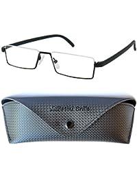 236939ed4b Flexibles Gafas de Lectura de Media Montura | Montura de Acero Inoxidable  Ligera (Negra)
