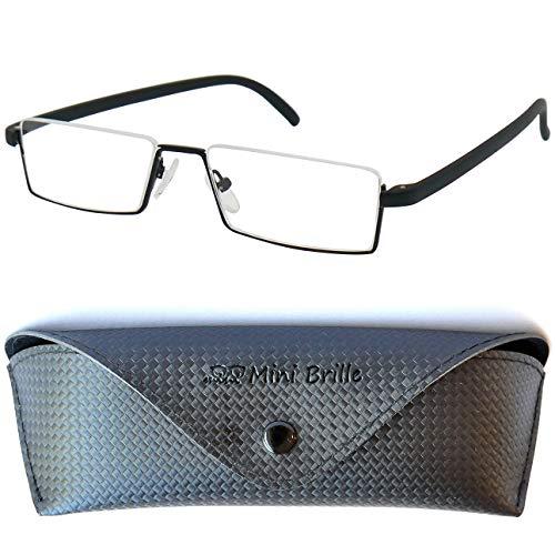 Flex Brille - Leichte & Flexible Halbbrille Lesebrille | Edelstahl Rahmen (Schwarz) | GRATIS Etui | Lesehilfe für Damen und Herren | +2.5 Dioptrien