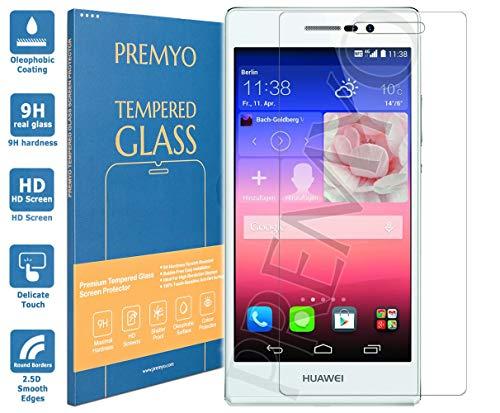 PREMYO Panzerglas Schutzglas Bildschirmschutzfolie Folie kompatibel für Huawei P7 Blasenfrei HD-Klar 9H 2,5D Gegen Kratzer Fingerabdrücke