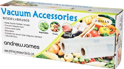 Andrew James Sachets Alimentaires pour Emballage sous Vide - 2 Rouleaux de 28 cm x 5 m - Réutilisables - Passent au Lave-Vaisselle et au Micro-Ondes - Convient pour Une Ample Gamme de Machines