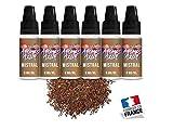 E-liquide pour cigarette électronique sans nicotine, sans tabac 50% PG 50% VG Mistral 0 mg lot de 5 + 1 offert saveur tabac brun