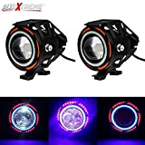 #10: AllExtreme U11 CREE LED light Headlight Spotlight Driving Fog Light for Cars motorcycle Truck Boat with Red Blue Ring Strip Color Light Angel Eye (Pack of 2)