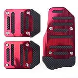 Dayiss® 3Pcs Auto rutschfest Pedal Schaltgetriebe Pedalhaken Pedalabdeckung Bremsen in 3 Farbe (Rot)