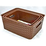 Fairfood Polypropylene Multipurpose Baskets Without Lid (Big, Medium, Small, Brown) - Pack Of 3