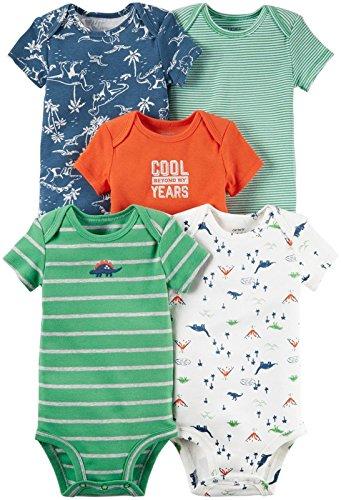 Carter's Baby Boys' Multi-pk Bodysuits, Green Dino, 18 Months -