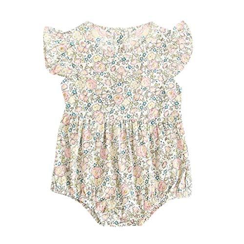 Sanahy Neugeborenes Baby Mädchen Baumwolle Blumen Gedruckt Niedlich Sommer Body Spielanzug Jumpsuit Babybody Volant Ärmellose Strampler Achselbody für 0-24 Monate -