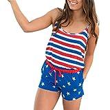 Estate Compatta Elegante Regular Moda Donna Casuale Patriottico Stampato Bandiera Americana A Strisce Romper Pizzo-Up (S, Blu)