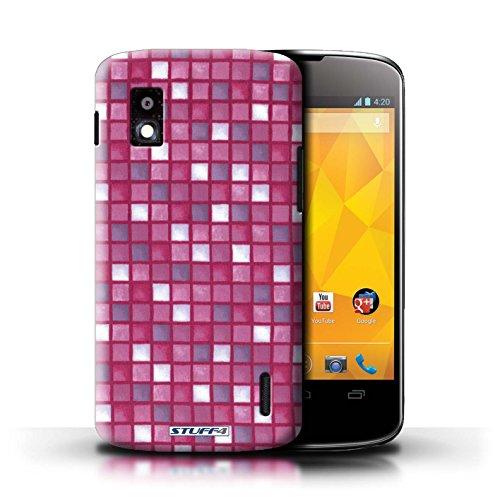 Kobalt® Imprimé Etui / Coque pour LG Nexus 4/E960 / Vert/Rouge conception / Série Carreau Bain Rose
