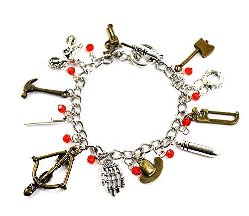 Charm-Armband,The Walking Dead,Zombie-Anhänger mit Armbrust, Beil, Pistole und Sheriff-Hut von Rick Grimes, in Geschenkbox