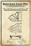 ComCard US Patente - Design for an Improvement in Pianofortes - Entwurf für eine verbesserung des Klavier - Steinway - 1878 - Design No 204106 - Schild aus Blech, Metal Sign, tin