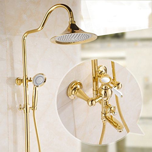 Preisvergleich Produktbild MOREY Dusche Badewanne mit Dusche Wasserhahn Set voll Kupfer vergoldet Bad Spritzdüse