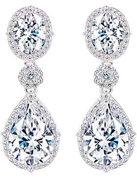 EVER FAITH® Damen 925 Sterling Silber CZ Luxury Tropfen Dangle Pierced Ohrringe Rhodium vernickelt