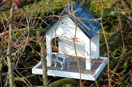 """Luxus-Vogelhaus 12282 Vogelfutterhaus """"Restaurant Birdies"""" mit Kiesterrasse und Sitzgelegenheit, weiߟ lackiert - 4"""