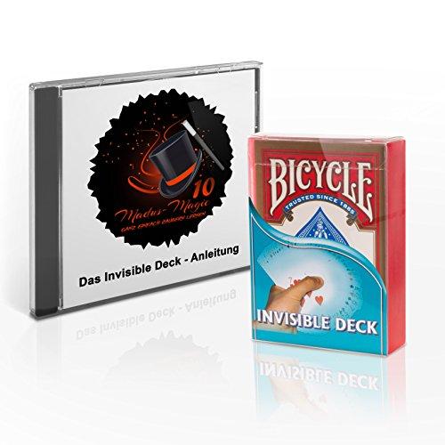 Madus-Magic Das Invisible Deck mit Deutscher Video-Anleitung und DREI verblüffender Kartentricks für Kinder und Erwachsene | Original Bicycle Deck