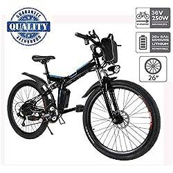 """Hiriyt Vélo Electrique 26"""" E-Bike - VTT Pliant 36V 250W Batterie au Lithium de Grande Capacité - Ville léger Vélo de avec moyeu 21 Vitesses (Noir, 26 Pouces)"""