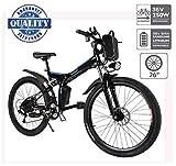Hiriyt Vélo Electrique 26' E-Bike - VTT Pliant 36V 250W Batterie au Lithium de Grande Capacité - Ville léger Vélo de avec moyeu 21 Vitesses (Noir, 26 Pouces)