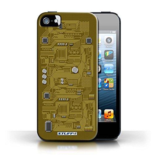 Kobalt® Imprimé Etui / Coque pour Apple iPhone 5/5S / Jaune conception / Série Circuit Board Jaune