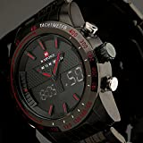 Fenkoo Herren Armbanduhr Japanischer Quartz LED / LCD / Kalender / Chronograph / Wasserdicht / Duale Zeitzonen / Alarm Edelstahl Band Schwarz