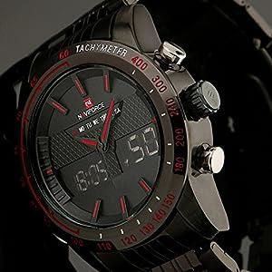 2eb54016c991b7 Fenkoo – Orologio da polso da uomo, LED al quarzo giapponese / LCD /  Calendario / Cronografo / Resistente all'acqua / Due fusi orari / Allarme  in acciaio ...