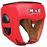 M.A.R International Ltd echtes Rindsleder Leder Kickboxen Kopfschutz Thai Boxing MMA Muay Thai Taekwondo Karate Judo Training Rot One Size Rot Senior