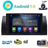 FOIIOE Android 9.0 9 Zoll Quad Core 1024600 1 Din HD Touchscreen Autoradio Player mit GPS Navigation passend für BMW E39 E38 M5 X5 5 Serie SWC WiFi 4G USB SD Cam-in DAB+ mit gratis Rückfahrkamera