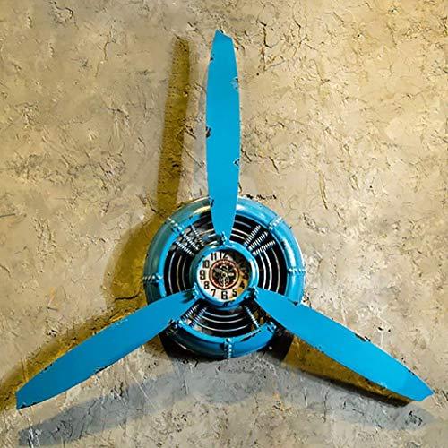 Oudan Loft Style Industrial Retro Blue Wall Clock Decor Airplane prop Iron Wall Hanging Wall Decor Hanging Wall Decor L * W * H 67 * 7 * 53 cm