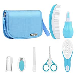 Babypflege Set – IntiPal 7-teiliges Set für Baby Alltag Pflege mit Etui BPA Frei (Blau mit Tasche)