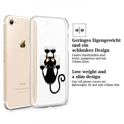 finoo | iPhone 6 und 6S Weiche flexible Silikon-Handy-Hülle | Transparente TPU Cover Schale mit Motiv | Tasche Case Etui mit Ultra Slim Rundum-schutz | Queen Katze kurz