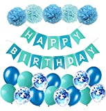 MAKFORT Geburtstagsdeko Jungen Blau Happy Birthday Girlande mit Pompoms und Luftballons Rosa Konfetti Luftballons für Geburtstag Partydeko Mädchen und Frauen