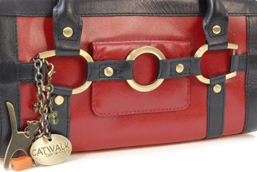 """Lederhandtasche """"Milan"""" von Catwalk Collection - Größe: B: 26,5 H: 13 T: 10,5 cm Rot Und Schwarz"""