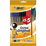 BIC Cristal Original Fine - Bolsa de 15+5 bolígrafos, colores azul, negro, rojo y verde