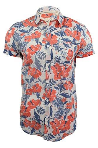 Florales Herren Hawaii-Hemd 'Gemini' von Soul Star, kurzärmelig Koralle