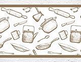"I-love-Wandtattoo b-10104 Küchenbordüre ""Kochen & Backen"" Bordüre Küche Vintage Topf Pfanne Teigrolle"