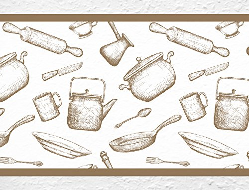 I-love-Wandtattoo b-10104 Küchenbordüre 'Kochen & Backen' Bordüre Küche Vintage Topf Pfanne Teigrolle