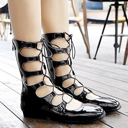 COOLCEPT Femmes Mode Lacets Escarpins Bout Ferme Appartements Ete Boots Creux Chaussures With Fermeture eclair Noir