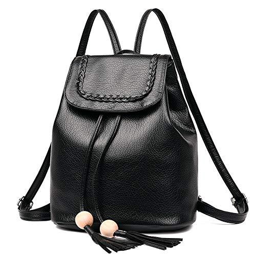 Rucksack weiblich Mini Rucksack einfach Mode wild lässig Quaste Tasche schwarz