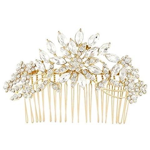 EVER FAITH® Austrian Crystal Flower Sparkle Party Hair Comb Clip