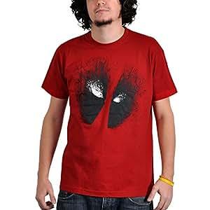 Dead Pool - T-Shirt Marvel Comic - Stampa esclusiva - Girocollo - Rosso - S