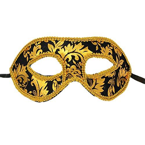 Cdet 1x Maske Männer Spitze Augen Maske Masquerade Mask für Halloween Maskentanzabend Party Foto Zubehör (Gold-Schwarz) (Halloween Maske Website)