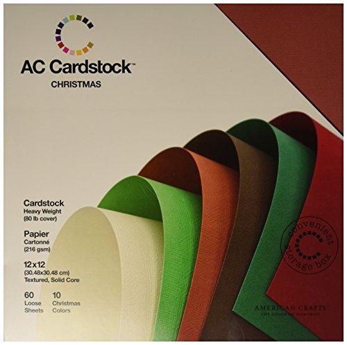 American Crafts Strukturierte tonkartons Pack 12Zoll x 12Zoll 60/pkg-Christmas Seasonal, andere, Mehrfarbig