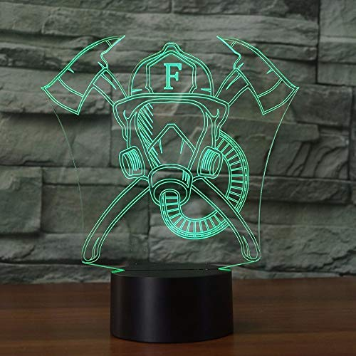 Jinson well 3D feuerwehr maske Lampe optische Illusion Nachtlicht, 7 Farbwechsel Touch Switch Tisch Schreibtisch Dekoration Lampen perfekte Weihnachtsgeschenk mit Acryl Flat ABS Base USB Kabel kreatives ()