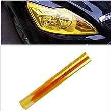 Landfox -Adhesivo para cubrir los faros traseros del vehículo vinilo tintado para faros antiniebla impermeable (Amarillo)