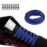 No Tie Shoelaces für Kinder und Erwachsene langlebigen Gummi flache elastische Sportlauf Schnürsenkel mit Multicolor für Sneaker Stiefel Brettschuhe und Freizeitschuhe (Blau)