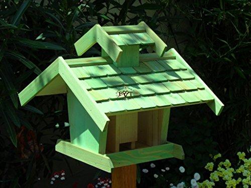 Vogelhaus-futterhaus, BEL-X-VOVIL4-moos002 Großes PREMIUM Vogelhaus WETTERFEST, QUALITÄTS-SCHREINERARBEIT-aus 100% Vollholz, Holz Futterhaus für Vögel, MIT FUTTERSCHACHT Futtervorrat, Vogelfutter-Station Farbe grün moosgrün lindgrün natur/grün, MIT TIEFEM WETTERSCHUTZ-DACH für trockenes Futter - 2